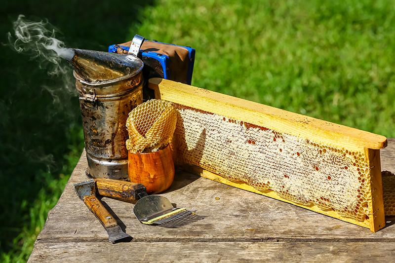 Základná výbava: zadymovač, rozpierka, voskové medzistienky, medzistienka v rámiku, odviečkovacia vidlička