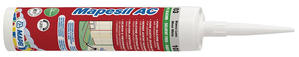 Cementové škárovacie malty je vhodné doplniť pružným silikónovým tmelom Mapesil AC na výplň pružných a dilatačných škár. Ponúka sa tiež v rozšírenej palete farebných odtieňov.
