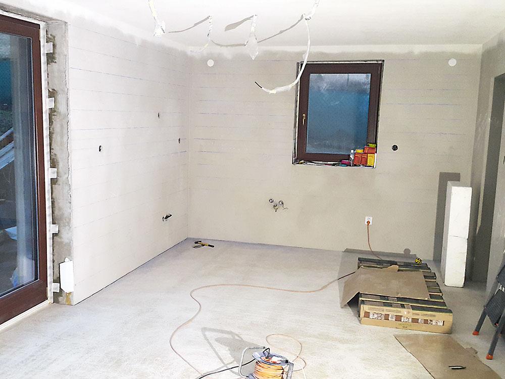 stena pripravená na obkladanie