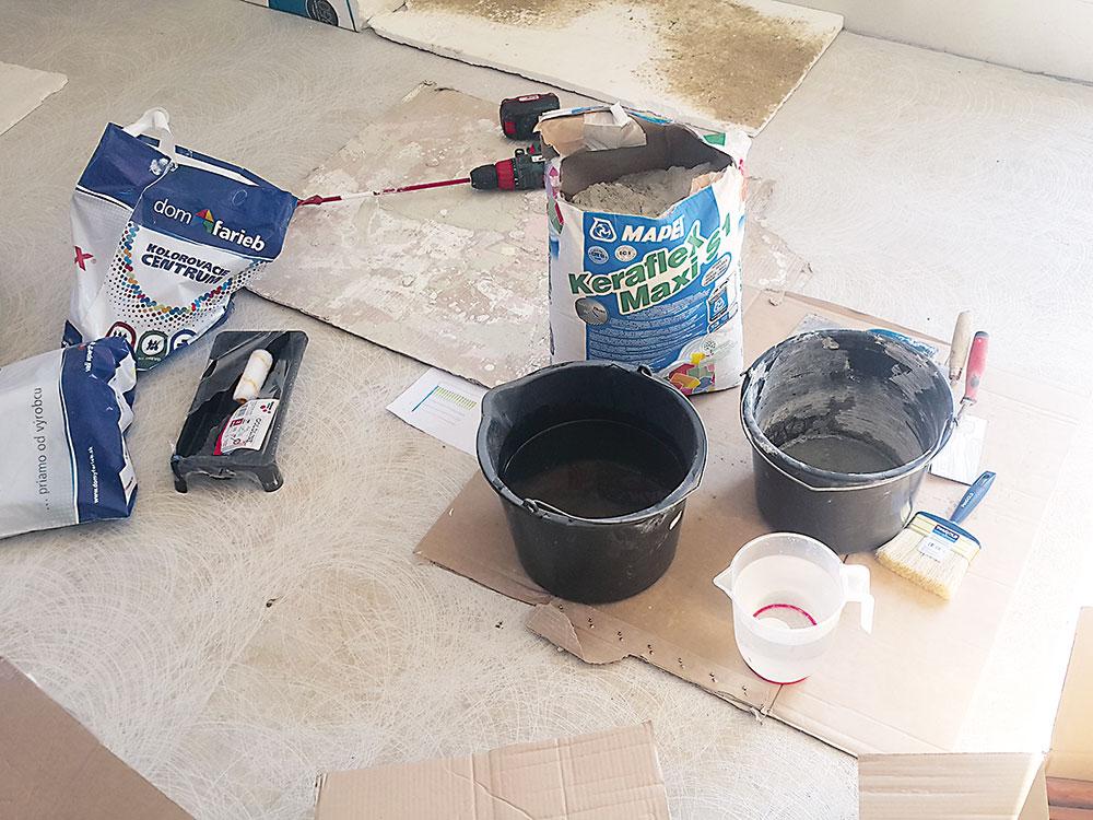 materiál potrebný na obkladanie stien