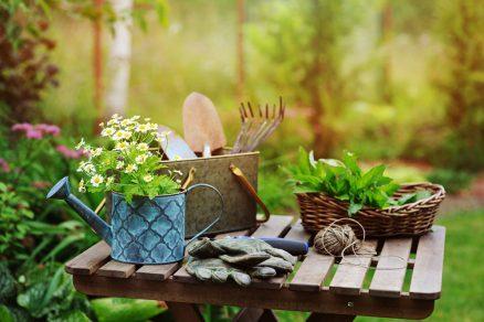 drevený stolik v záhrade