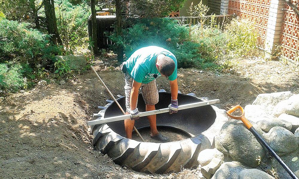 stavba záhradného jazierka z pneumatiky