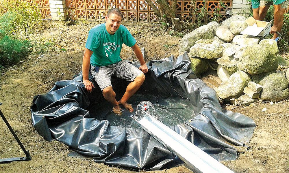 záhradné jazierko z pneumatiky a skúška tlaku vody