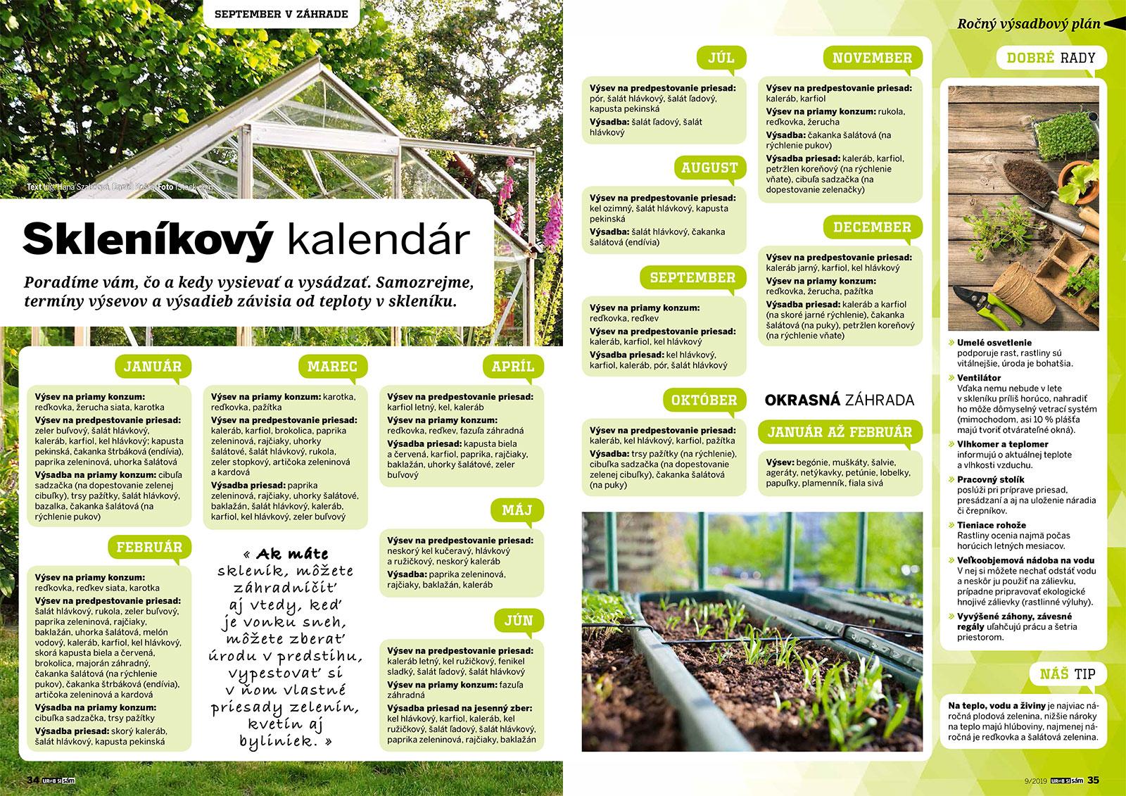 skleníkový kalendár