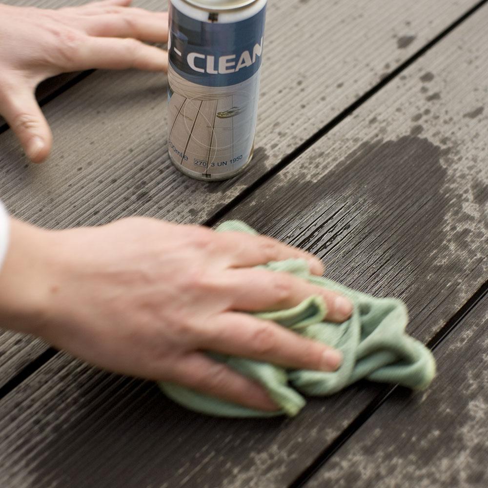 Na kompozitné terasy nepoužívajte rozpúšťadlá, ktoré môžu jej povrch poškodiť.