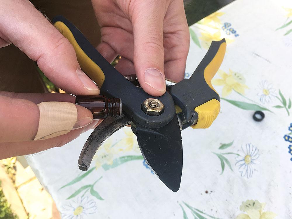 mazanie záhradných nožníc
