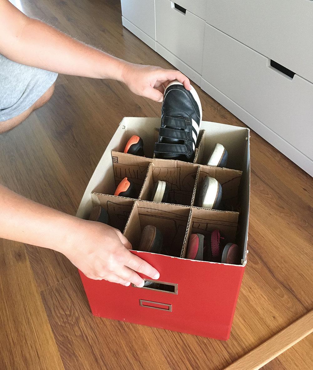 organizér na topánky zo škatule