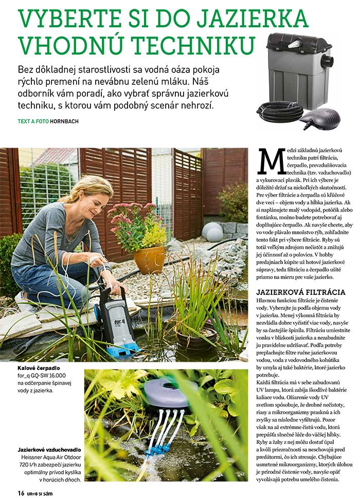 technika do záhradného jazierka