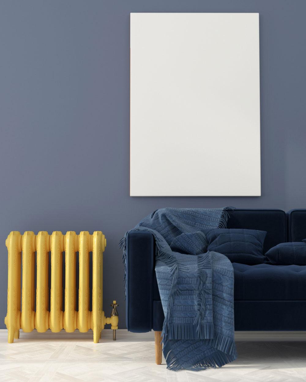 oživenie starého radiátora žltým náterom