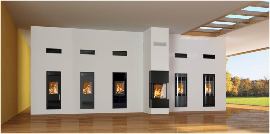 Rodina produktov Schiedel KINGFIRE – Classico Black Edition, Classico, Lineare, GRANDE, Rondo, Rondo Black Edition