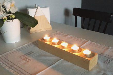 jednoduchý svietnik z odrezkového dreva