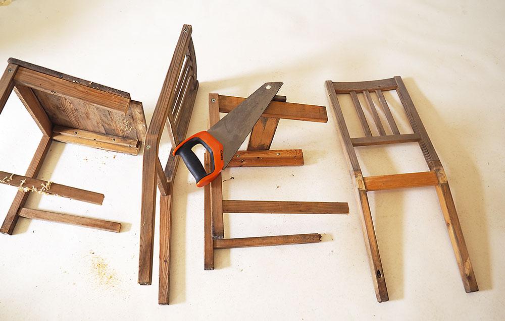 pílenie starých stoličiek