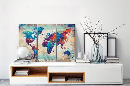 Obraz maľovanie podľa čísel farebná mapa sveta