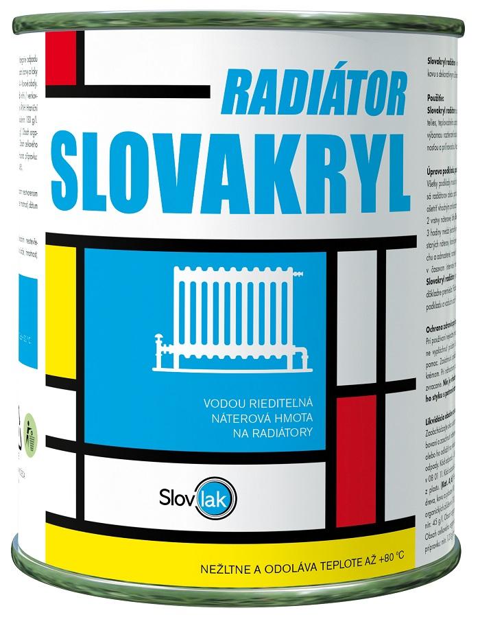 Slovakryl radiátor je moderná vodouriediteľná náterová farba na radiátory, teplovodné potrubie a iné vykurovacie telesá, ktoré boli povrchovo upravené základnou antikoróznou farbou.