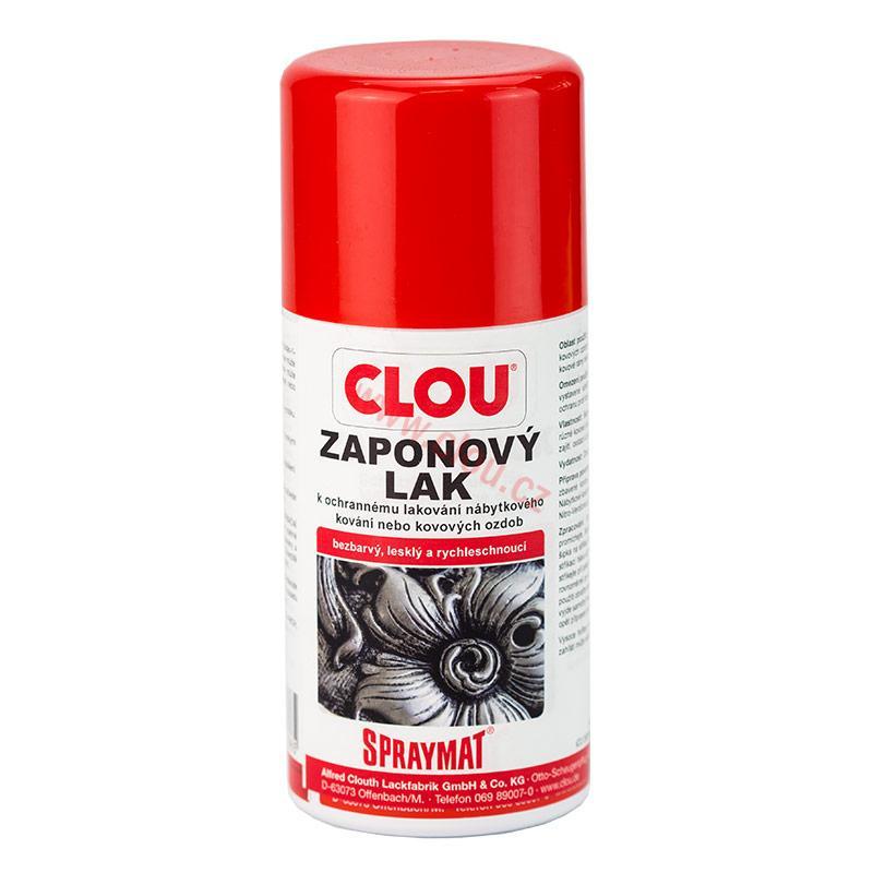 Záponový lak Clou v spreji je rýchloschnúci bezfarebný jednozložkový lak na báze nitrocelulózy, určený na lakovanie kovových častí nábytku v interiéri. Lak chráni meď, chróm, mosadz, hliník, železo pred oxidáciou.