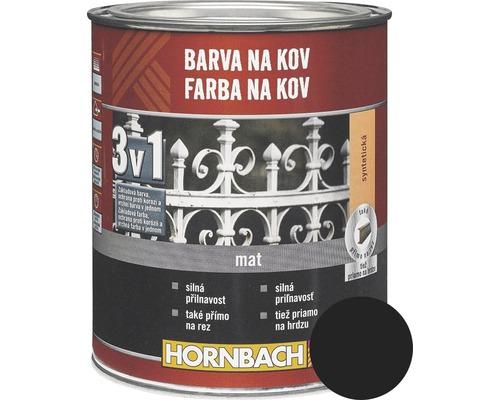 Farba na kov 3 v 1 Hornbach je čierna, matná antikorózna syntetická farba vhodná na kovové ploty, mreže, zábradlie, záhradný nábytok či dvere. Má silnú priľnavosť a môžete ju aplikovať priamo na hrdzu.