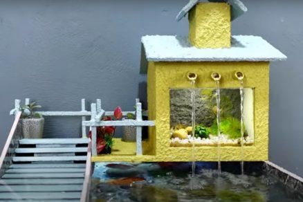 domáce akvárium z vyradených dlaždíc