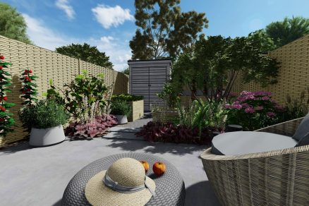 návrh záhrady v radovej zástavbe