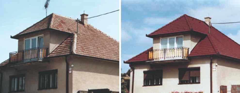 Pred a po rekonštrukcii strechy