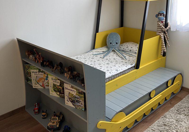 detská posteľ buldozér