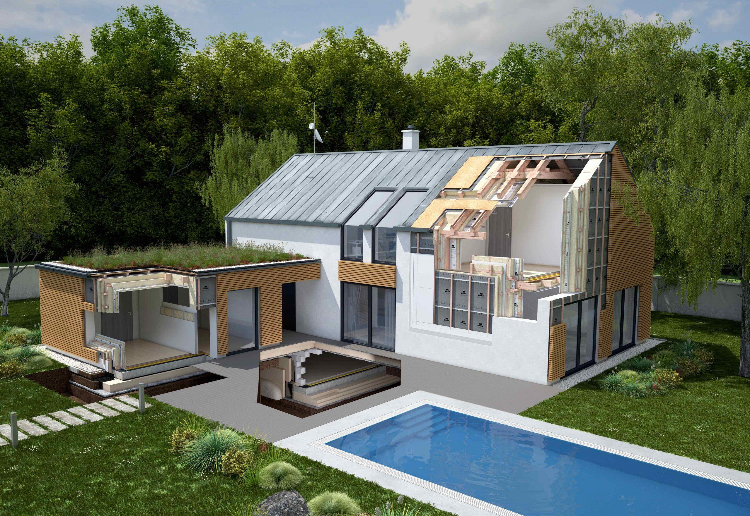 Rodinný dom s grafickou ukážkou zatepľovacieo systému
