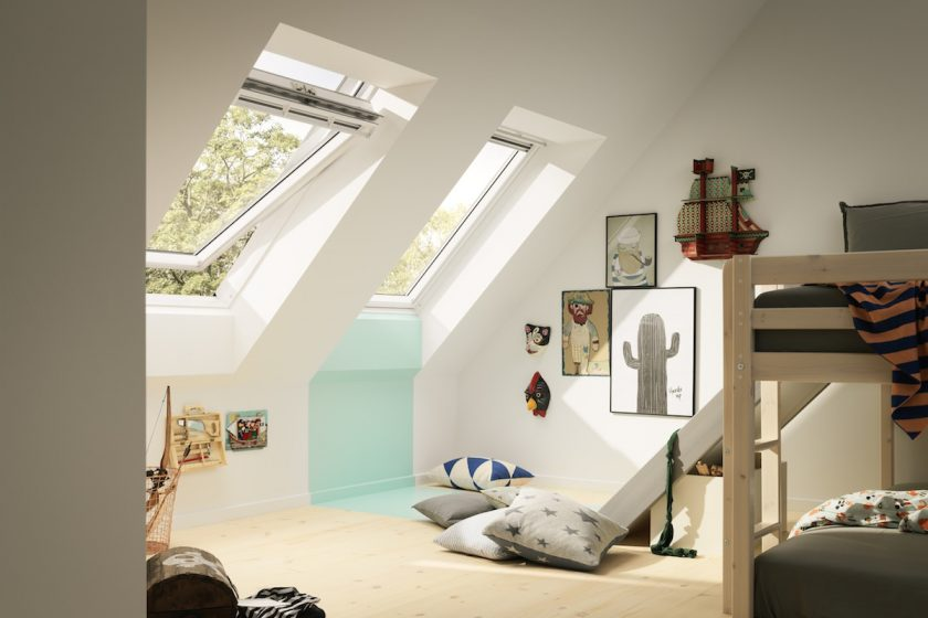 Detská izba so strešnými oknami a poschodovou posteľou