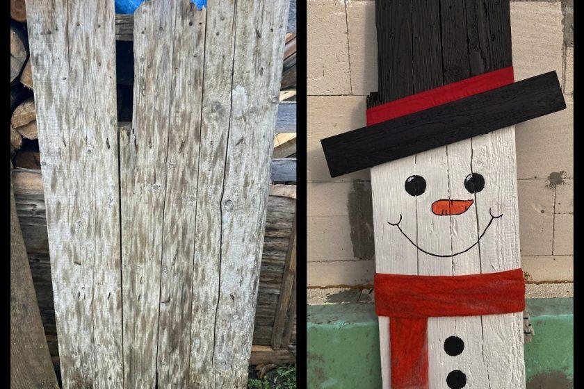 Výroba snehuliaka zo starej trepne