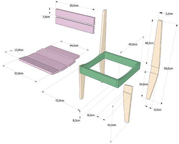 nákres stoličky