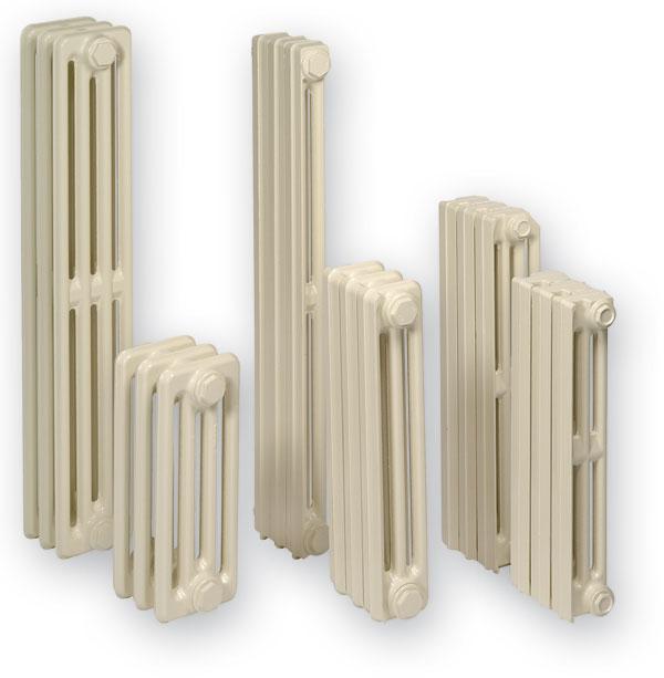 Rebrá niektorých liatinových radiátorov sú tvarované tak, že vytvárajú súvislú prednú stranu s výškou až do 980 mm.