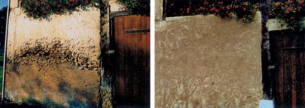 Múr poškodený vlhkosťou a soľou a po sanačnom kroku
