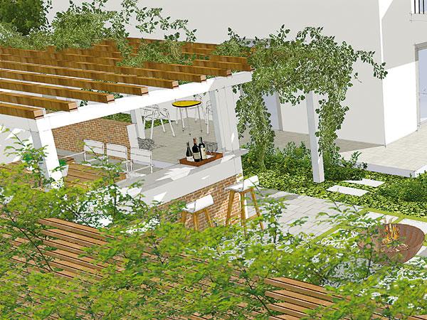 Inšpiratívny návrh záhrady pri dvojdome s minimálnymi nárokmi na starostlivosť