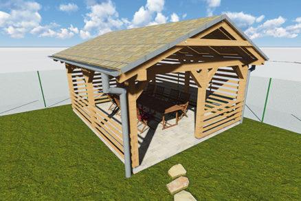 Celodrevený altánok so sedlovou strechou do 2 500 €