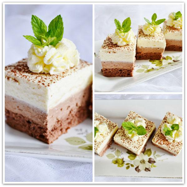 tvarohovy zakusok s bielou a horkou cokoladou